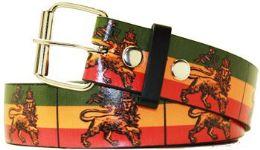 96 Units of Rasta Lion Printed Belt - Belts