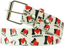 96 Units of I Love America Printed Belt - Belts