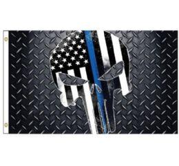 24 Units of Blue Lives Matter Flag Skull - Flag
