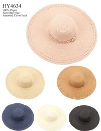 24 Wholesale Women Fashion Large Brim Sun Hat With Bow