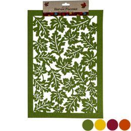 48 Units of Placemat Felt Leaf Lasercut 12x 17 4asst Fall Colors Hrv Header - Placemats