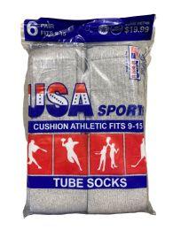 120 Units of Usa Men's Sport Tube Socks, Referee Style, Size 9-15 Solid Gray - Mens Tube Sock