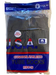 120 Units of Usa Men's Sport Tube Socks, Referee Style, Size 9-15 Solid Black - Mens Tube Sock