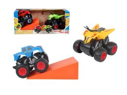 24 Units of Friction Monster Truck with Ramp Play Set - Cars, Planes, Trains & Bikes