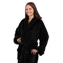 3 Bulk Tahoe Fleece Shawl Collar Robe In Black