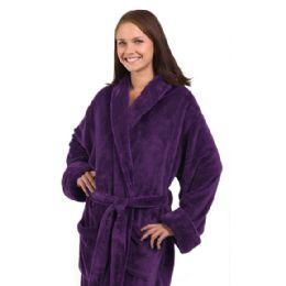 3 Bulk Tahoe Fleece Shawl Collar Robe In Purple