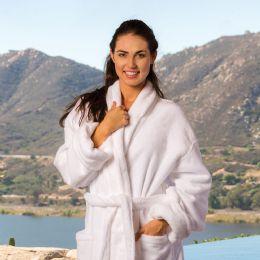 3 Bulk Deluxe Shawl Collar Luxury Bathrobe In White