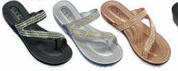 36 Units of Womens T Strap Flat Sandals Open Toe Bohemian Rhinestone Thong Flip Flops Sandal - Women's Flip Flops