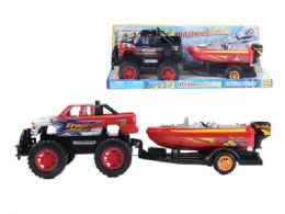 12 Units of Friction Towing Truck with boat - Cars, Planes, Trains & Bikes