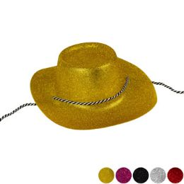 24 Wholesale Plastic Glitter Cowboy Hat