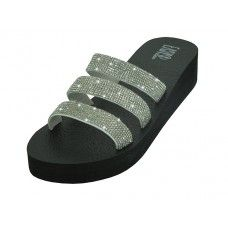 18 Units of Women's Rhinestone Upper Wedge Sandals Silver Color - Women's Sandals