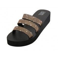 18 Units of Women's Rhinestone Upper Wedge Sandals In Rose Gold - Women's Sandals