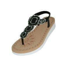 18 Units of Women's Super Soft Rhinestone Upper Sandals Black Color - Women's Sandals