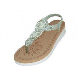 18 Units of Women's Super Soft Rhinestone Upper Sandals Silver Color - Women's Sandals