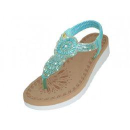 18 Units of Women's Super Soft Rhinestone Upper Sandals Blue Color - Women's Sandals