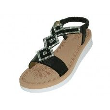 18 Units of Women's Super Soft Rhinestone Upper Sandals Back Color - Women's Sandals