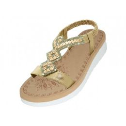 18 Units of Women's Super Soft Rhinestone Upper Sandals Rose Gold Color - Women's Sandals