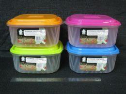 72 Wholesale Pl. Storage Ctnr W/ Zigzag 2.65l Sq 24/ib 48st/cs