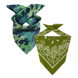 Camo And Olive Green 22x22 Inch Cotton Bandanna 2 Colors Only