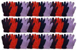 36 Bulk Yacht & Smtih Womens Assorted Colors Warm Fuzzy Gloves