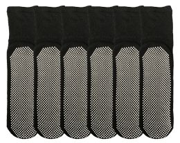 6 Bulk Yacht & Smith Womens Loose Fit Gripper Bottom NoN-Skid Slipper Socks ,yoga, Trampoline Socks Solid Black, Size 9-11