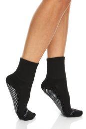 120 Bulk Yacht & Smith Womens Loose Fit Gripper Bottom NoN-Skid Slipper Socks ,yoga, Trampoline Socks Solid Black, Size 9-11