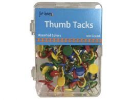 72 Wholesale 100 Count Thumb Tacks In Assorted Colors