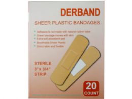 150 Bulk Derband 20 Count 3x 3/4 Sheer Plastic Bandages