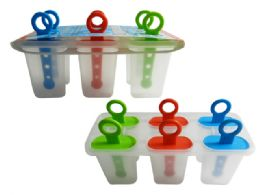 96 Units of Ice Pop Mould 6pc Assorted Colors - Freezer Items