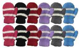 36 Units of Yacht & Smith Kids Striped Fuzzy Mittens Gloves Ages 2-7 - Fuzzy Gloves