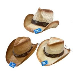 24 Wholesale Classic Woven Cowboy Hat Brown Hat Band Steer
