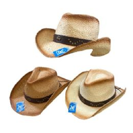 24 Wholesale Classic Woven Cowboy Hat Studded Hat Band