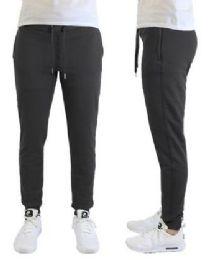 24 of Men's Heavyweight SliM-Fit Fleece Cargo Sweatpants Assorted Sizes Solid Black