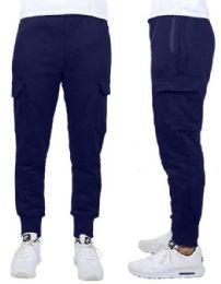 24 of Men's Heavyweight SliM-Fit Fleece Cargo Sweatpants Assorted Sizes Solid Navy
