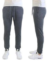 24 of Men's Heavyweight SliM-Fit Fleece Cargo Sweatpants Assorted Sizes Solid Grey