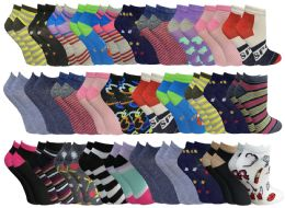 2400 Units of Assorted Pack Of Womens Low Cut Printed Ankle Socks Many Prints Assorted Mega Deal - Women's Socks for Homeless and Charity