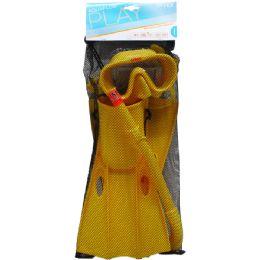 "6 Units of 14.5"" Snorkel, 6.5"" Mask, & 13.5"" Swim Fins In Net Bag, 8+ - Summer Toys"