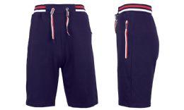 24 Units of Men's Fleece Lounge Sweat Shorts With Zipper Pockets & Trim Tech Design Solid Navy - Mens Shorts