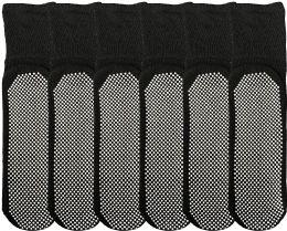 6 Bulk Yacht & Smith Mens Loose Fit Gripper Bottom Diabetic NoN-Skid Slipper Black Socks, Grippy Hospital Sock, Size 10-13