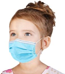 50 Wholesale Disposable Kids 3ply Solid Blue Face Mask For Health Protection