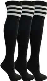 3 of Yacht & Smith Womens Over The Knee Socks Referee Style Thigh High Socks Style 3 Pairs Black Striped