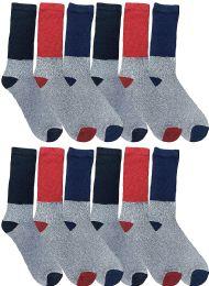 12 Bulk Yacht & Smith Thermal Diabetic Crew Socks For Men, Marled, Ringspun Cotton, Seamless Toe, Loose Top King Size