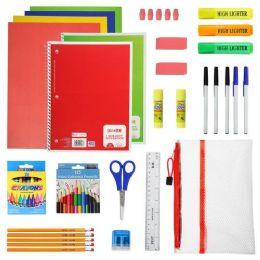 12 Bulk 52 Piece Deluxe Kids Bulk School Supply Kits