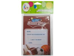 144 Wholesale 8 Count All Star Sports Thank You Cards