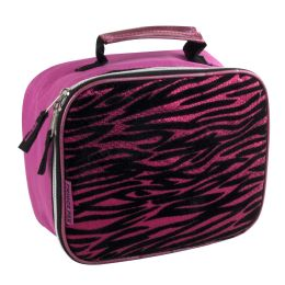24 Units of Fridge Pack Pink Zebra Print Lunch Bag - Lunch Bags & Accessories