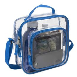 24 Units of Clear Toiletry Bag In Blue - Cosmetic Cases