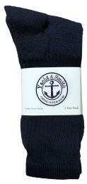 120 of Yacht & Smith Men's King Size Cotton Terry Cushioned Crew Socks Navy Size 13-16 Bulk Pack