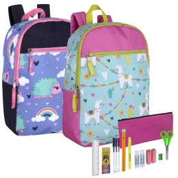 24 Wholesale Backpack And 18 Piece School Supply Kit Girls