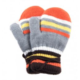 48 of Kids Mitten With String Striped