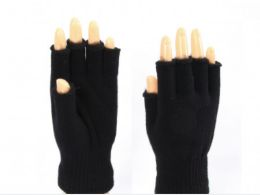 72 Units of Black Finger Less Gloves - Conductive Texting Gloves